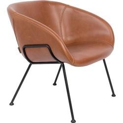 Zuiver Feston Loungestoel - Bruin Kunstleer