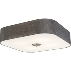 Ceiling Lamp Drum Deluxe 50 Square Jute Grey