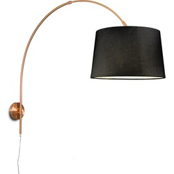 Wall Arc Lamp Matte Copper with 40cm Black Shade