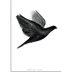 Vogel poster - Waterverf stijl - Interieur poster - Zwart wit poster - Abstract - A2 + Fotolijst zwart
