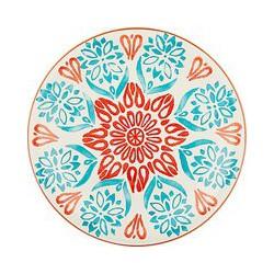 John Lewis & Partners Alfresco Floral Side Plate, Dia.24cm, Teal/Orange