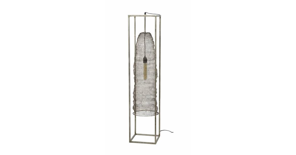 Mail - Vloerlamp - geweven metaaldraad - hangend in stalen frame - antiek nikkel