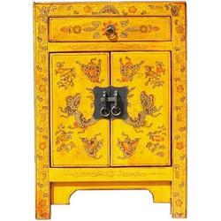 Fine Asianliving Fine Asianliving Chinees Nachtkastje Handgetekende Gouden Vlinders Geel