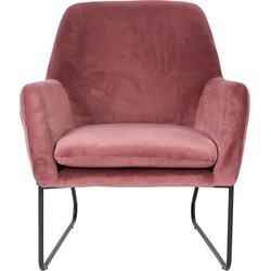 Fauteuil Finda - roze velours