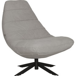 Must Living Lounge Fauteuil Blaze - Stone Washed Grijs Katoen - Zwarte Kruispoot