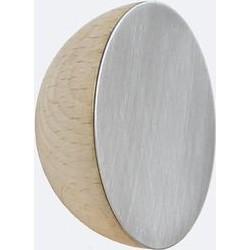 Round Beech Wood and Aluminium Wall Hook