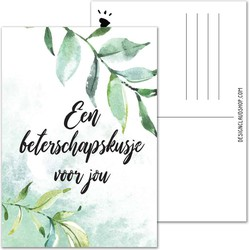 Een beterschapskusje voor jou - Beterschapskaart bladeren botanisch groen - DesignClaud