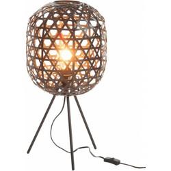 Bamboo light - Tafellamp - cilinder - bamboe - zwart - driepikkel - metaal