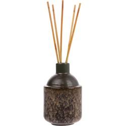 HK-living vaasje keramiek bruin + geurstokjes midsummer musk HK.6
