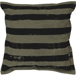 HK-living kussen, sierkussen groen, zwart gestreept stonewash 45x45cm