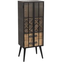 Industry - Barkast - vitrine - 2 glasdeuren - hout - naturel / zwart
