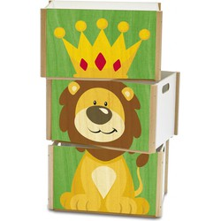 Speelgoedkist Leeuw 3-delig Hout  - Weizenkorn