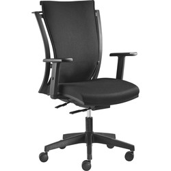 24Designs MaxiFlex Bureaustoel - Stof Zwart - Zwarte Kruispoot