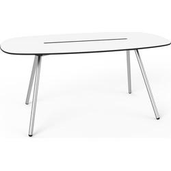 Lonc Tafel Longboard A-Lowha - L160 Cm - Wit HPL Tafelblad - RVS Onderstel