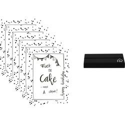 Kaarthouder+5 Kaarten A5 Fuck the Cake-10x15cm-Inclusief houten kaartenhouder zwart-Housevitamin