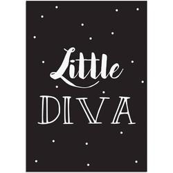 Little Diva - Tekst poster - Zwart wit poster - A2 + Fotolijst zwart