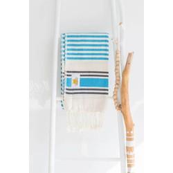 Mycha Ibiza - hamamdoek – streep – turquoise – 100% handgeweven katoen