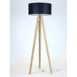 Lamp Wanda massief essenhout met zwarte kap en transparante kabel
