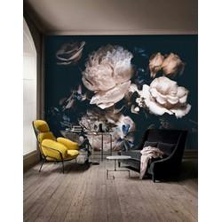 Vliesbehang bloemen zwart vintage 350x250