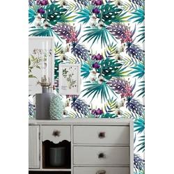 Zelfklevend behang Exotische Bloemen Multicolour  122x122 cm
