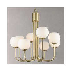 John Lewis Levin 8 Bulb Ceiling Light, Brass / Opal