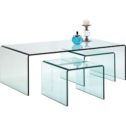Kare Design Clear Club - Set Van 3 Salontafels - Glas