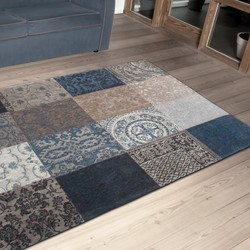 Vintage Vloerkleed Patchwork - Blue Denim 8108 - Louis de Poortere - 140 x 200 cm
