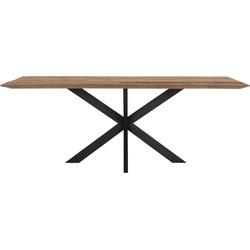 24Designs Curves Tafel - 260x100x78 - Tafelblad Recycled Teakhout - Zwart Design Onderstel