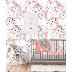 Vliesbehang Flamingo roze wit 122x275 cm
