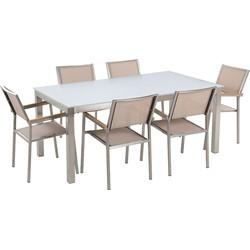 Tuinmeubel set glasplaat wit 180 x 90 cm 6 stoelen gespannen textiel beige GROSSETO