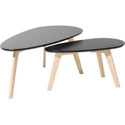 Tweedelige salontafel zwart FLY II