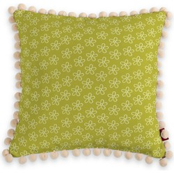 Kussenhoes Wera met pompons wit-groen
