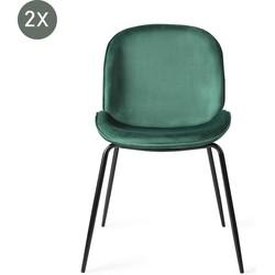 Austin Groen met zwarte poten eetkamerstoel - Set van 2