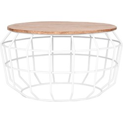"""Coffee table Pixel white XL has a very beautiful design with its' """"pixel"""" shaped frame, provided with beautiful, coarse welding lines, combined with a unique, robust, mango wooden table top. This beautiful combination enables a modern, sturdy and sop..."""
