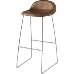 Gubi  3 Bar stool - H 75 cm - Walnut shell. Walnut