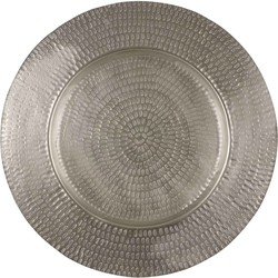 Mica Decorations bord rond zilver mat dia in cm: 57