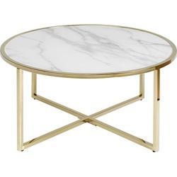 Kare Design West Beach Salontafel - Ø80x45 - Glazen Blad Marmerlook - Goud Metalen Onderstel