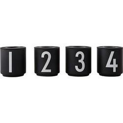 Design Letters Espressokop 1234 Set van 4 - Zwart