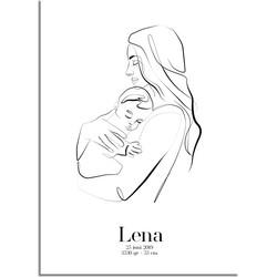 Geboorteposter Moeder en kind - A3 + Fotolijst zwart