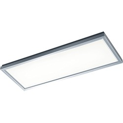 Modern Rectangle Ceiling Lamp Brushed Aluminium Incl. LED - Plum