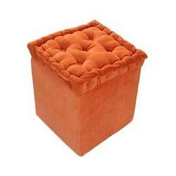 Velvet Footstool Pouffe Terracotta