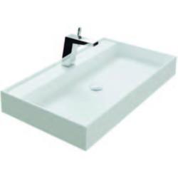 Thebalux Snow wastafel Solid Surface 1 kraangat 80,2x45x10cm Mat wit