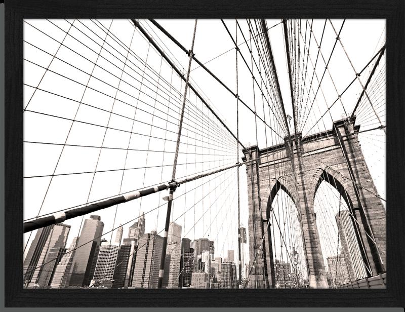 Brooklyn Bridge - Fotoprint in houten frame - 30 X 40 X 2,5 cm ...