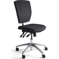 24Designs Bedrijfsstoel Laag Stof Alu - Verstelbare Zithoogte 48 - 63 Cm - Zwart