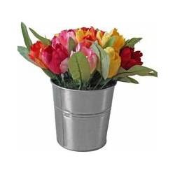 Orange, Red, Yellow Artificial Tulips in Metal Pot