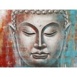 Fine Asianliving Schilderij Boeddha Gezicht Rood Blauw Metal Foil