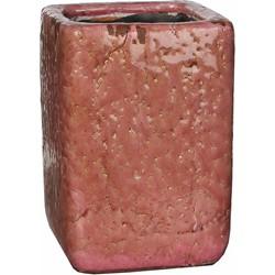 Mica Decorations vaas vierkant lis maat in cm: 12.5x12.5x18.5 roze