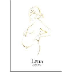 Geboorteposter Zwangere buik - 9 maanden poster - Goudfolie - A4 + Fotolijst wit