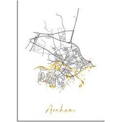 Arnhem Plattegrond Stadskaart poster met goudfolie bedrukking - A2 + Fotolijst wit