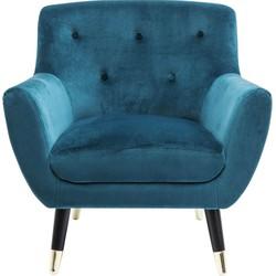 Kare Design Fauteuil Olga Armleuning Zithoogte 42 Cm - Stof Blauw